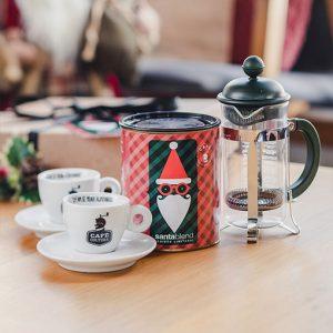 Kit Café Santa Blend + Cafeteira Bodum Verde 300ml + 2 Xícaras Espresso 70ml